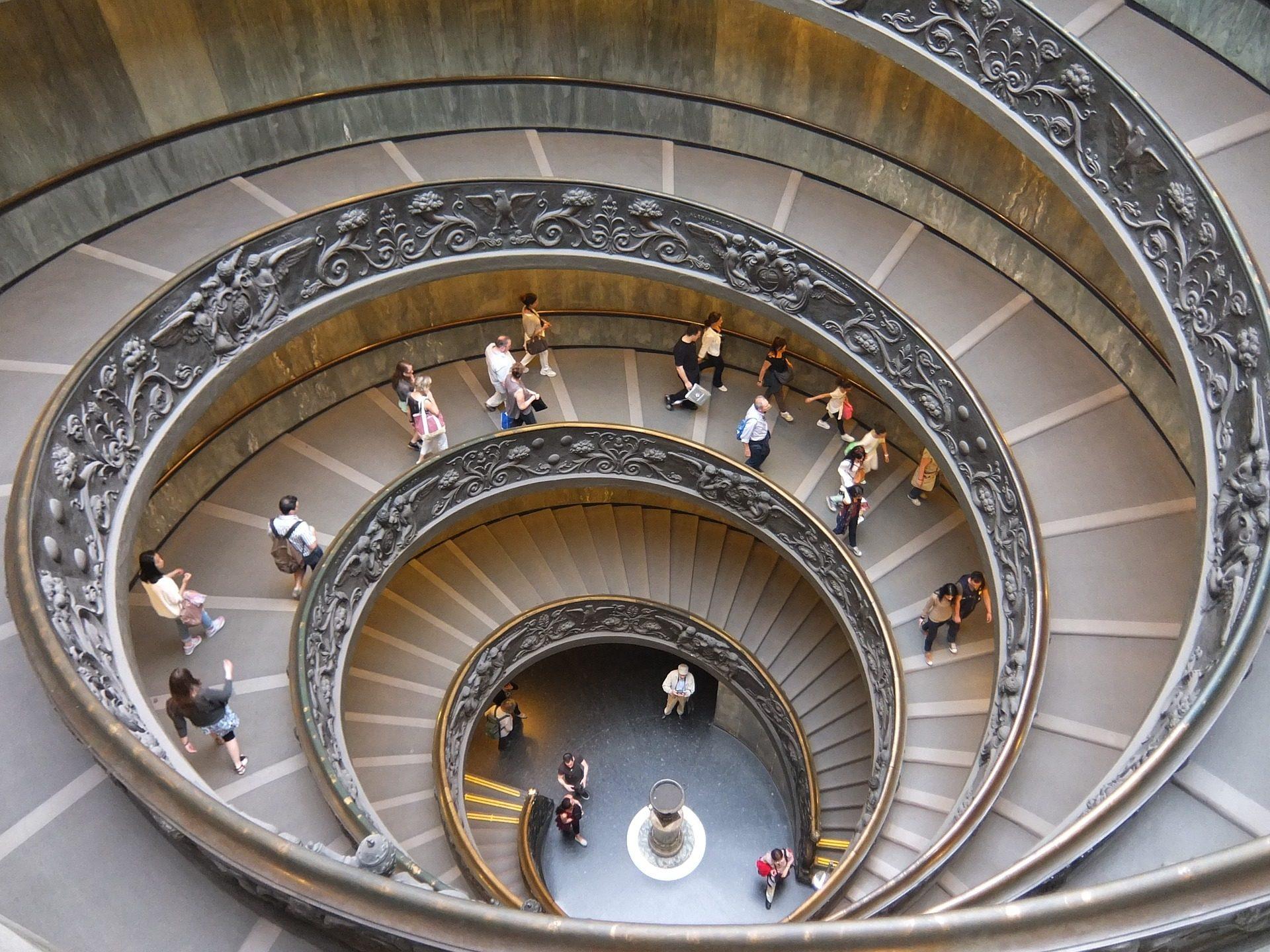 Treppen, kreisförmige, Schnecke, Touristen, Ornamentik, Rom - Wallpaper HD - Prof.-falken.com