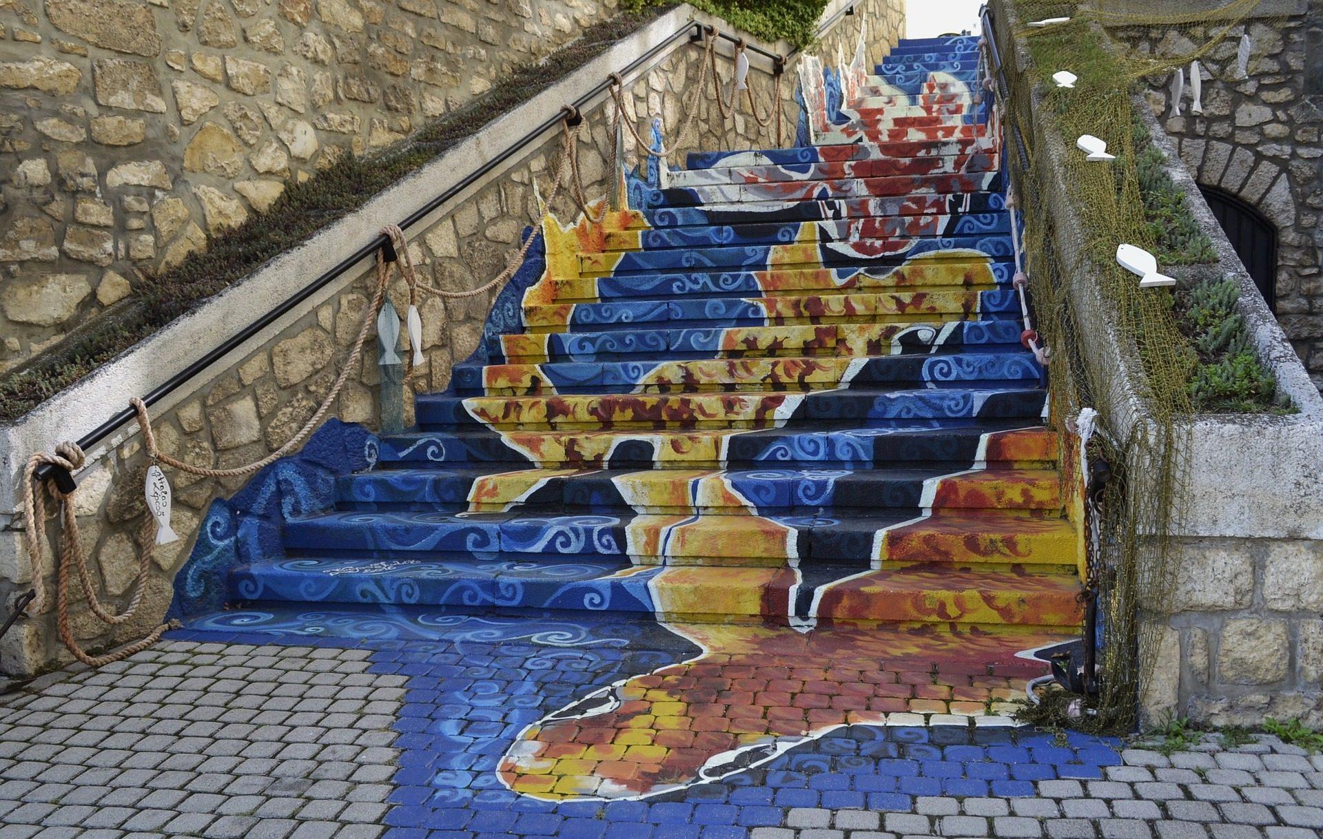σκάλες, βήματα σκαλοπατιών, Ζωγραφική, Γκράφιτι, ψάρια - Wallpapers HD - Professor-falken.com