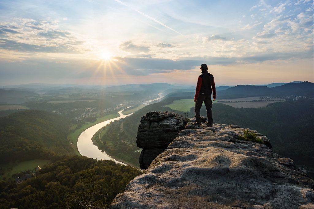 hombre, pico, cima, saliente, altura, vistas, nubes, sol, 1802131758