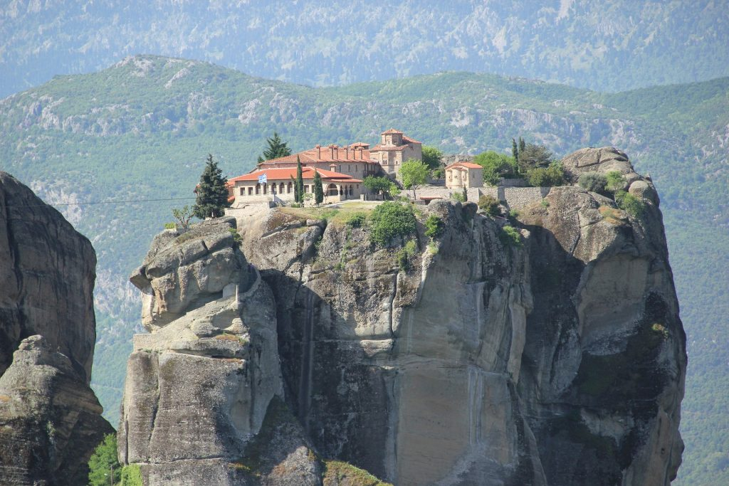 monasterio, cima, roca, montaña, meteora, grecia, 1802241700