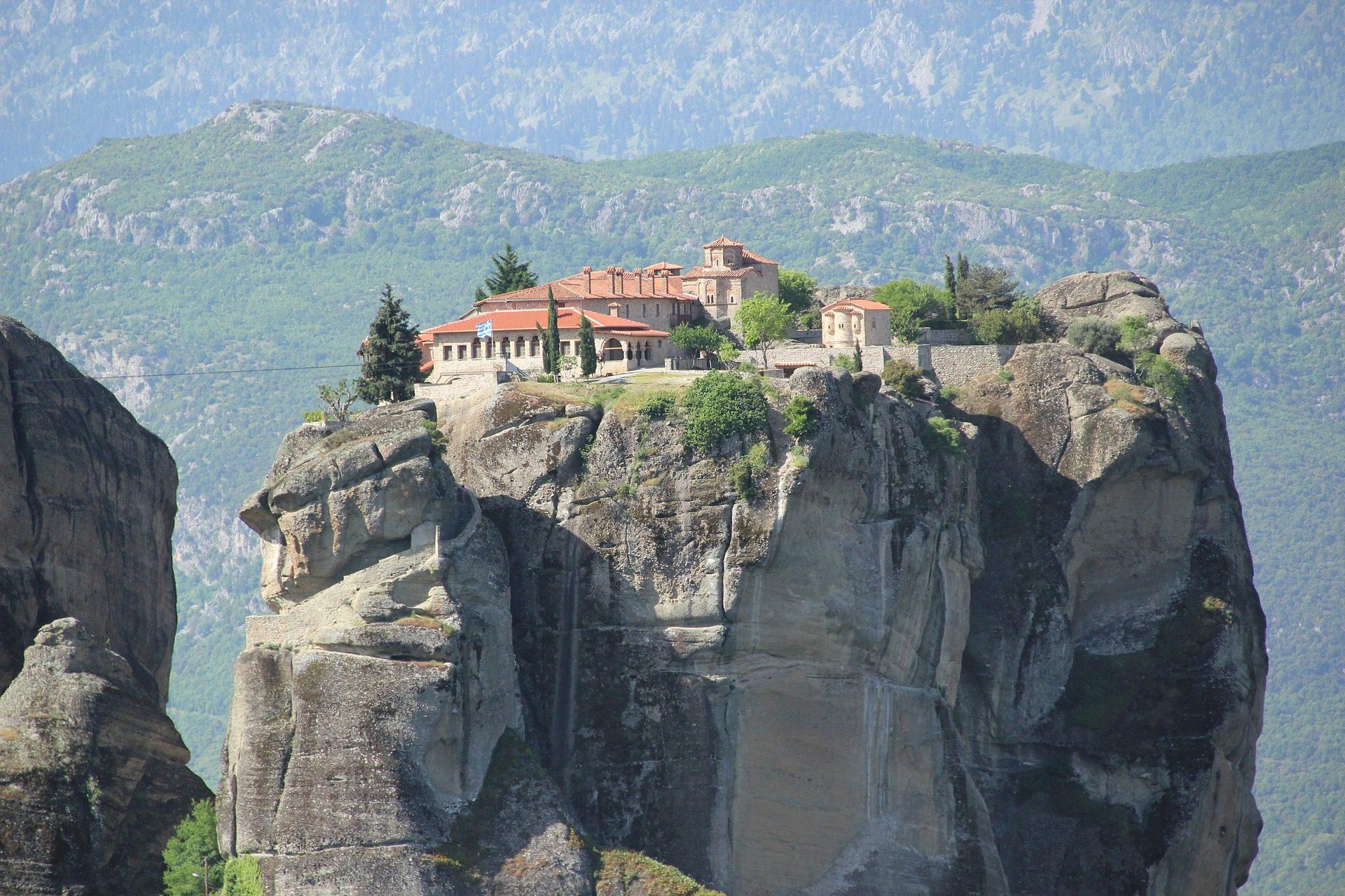 Kloster, Nach oben, Roca, Berg, Meteora, Griechenland - Wallpaper HD - Prof.-falken.com