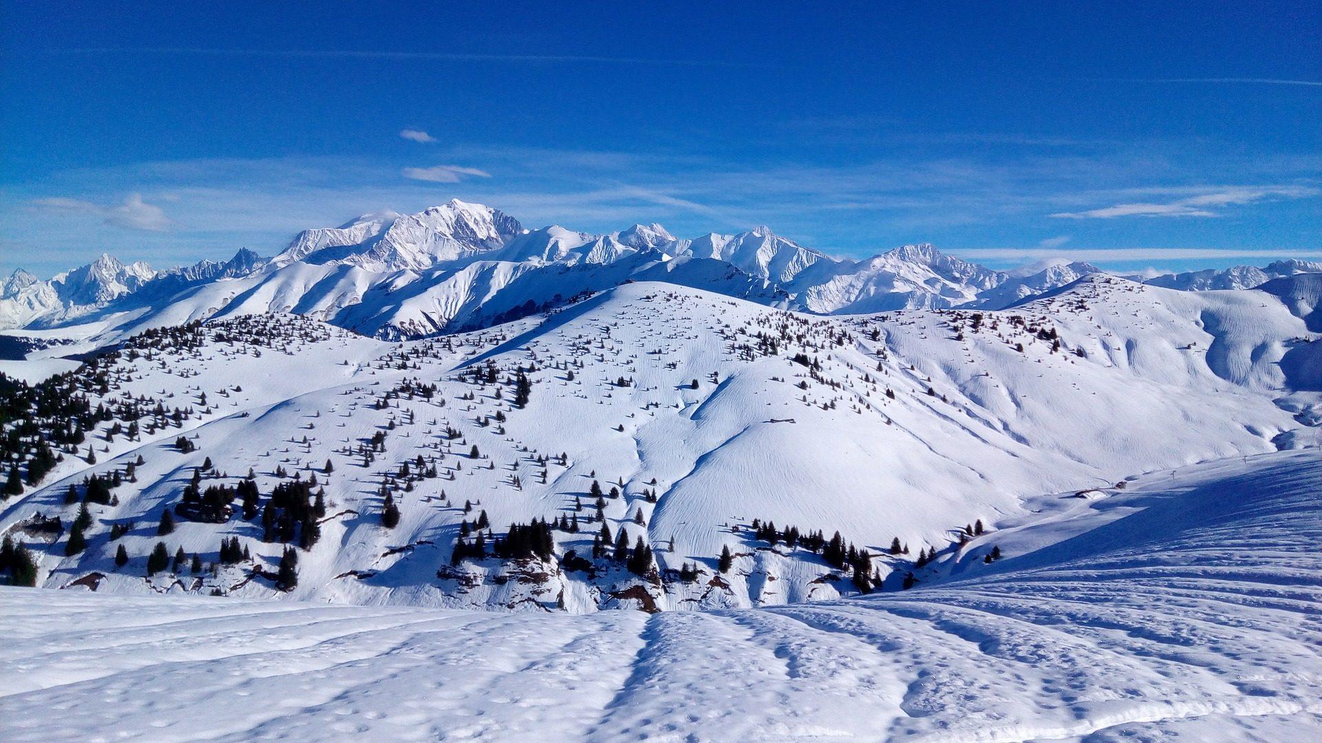 Montanha, Nevada, neve, árvores, faixas, Esquí - Papéis de parede HD - Professor-falken.com
