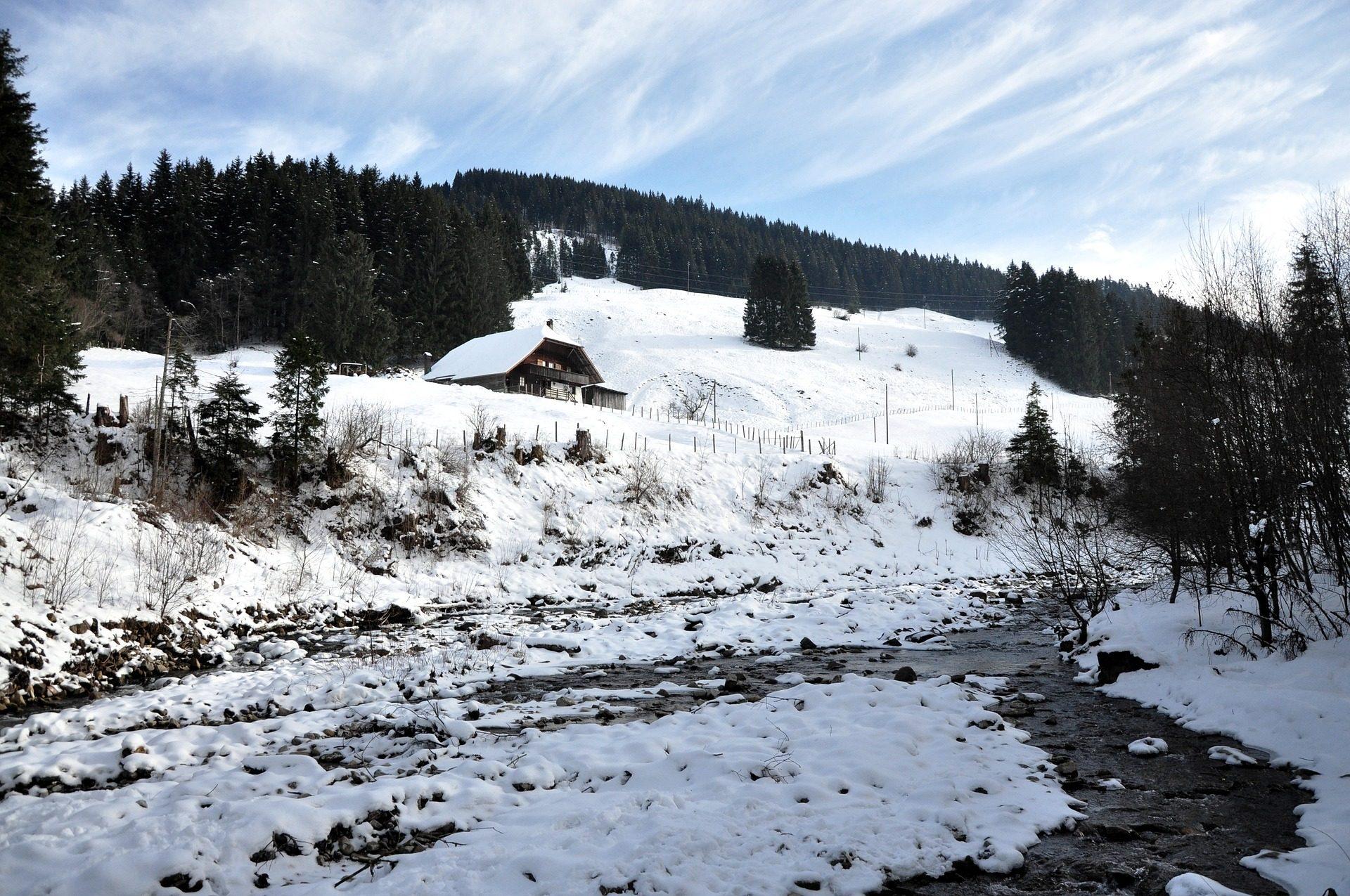 山, 雪, カバナ, 木, リアチュエロ - HD の壁紙 - 教授-falken.com