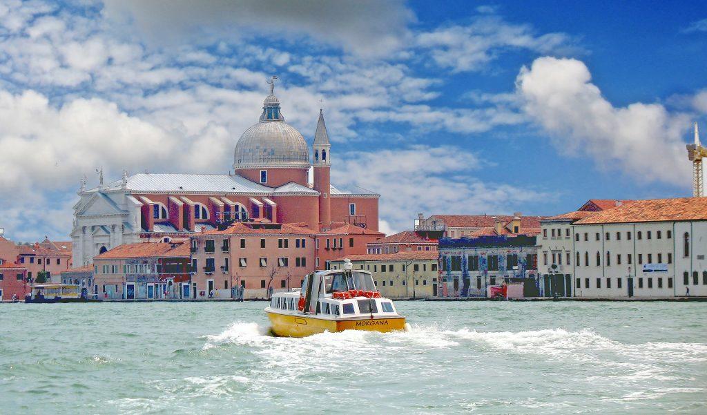 barco, mar, costa, edificios, iglesia, cúpula, italia, 1803151634