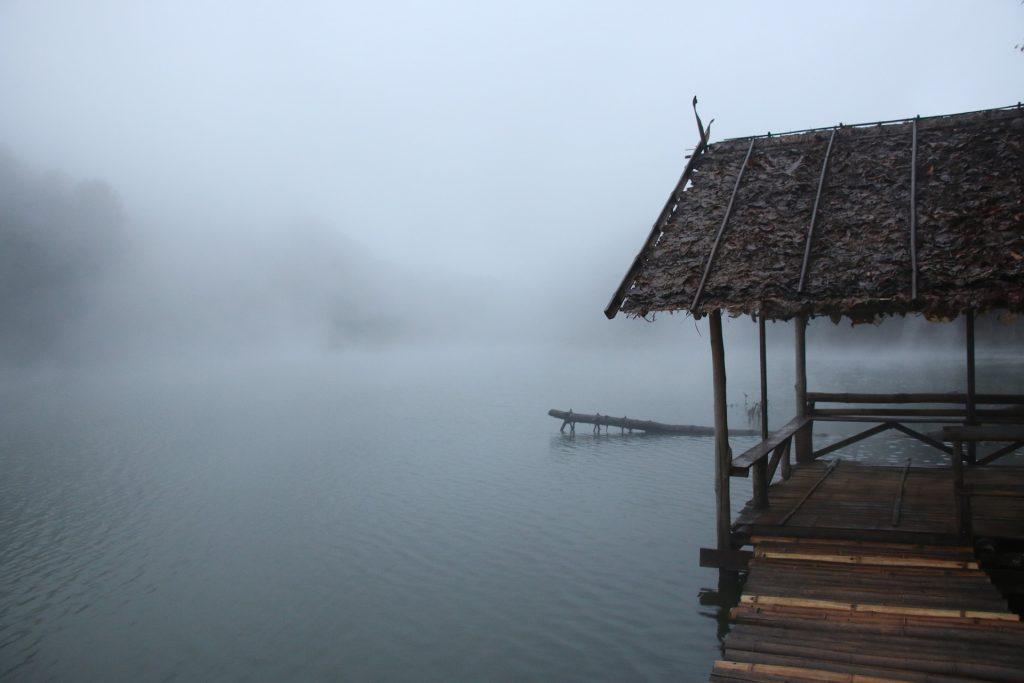 cabaña, choza, embarcadero, lago, niebla, 1803241323