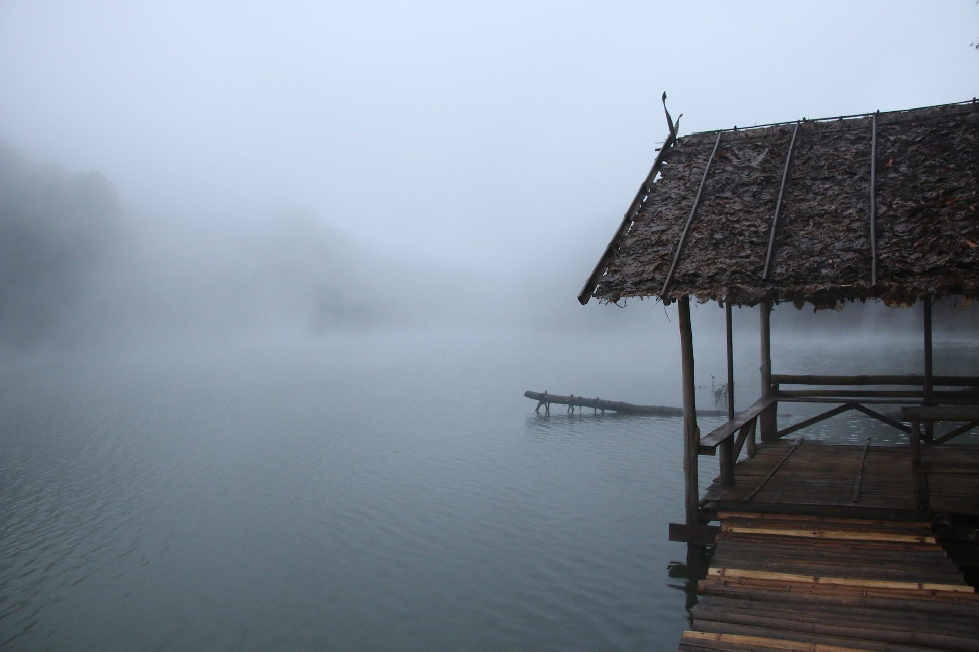 Καμπάνα, καλύβα, Embarcadero, Λίμνη, ομίχλη - Wallpapers HD - Professor-falken.com