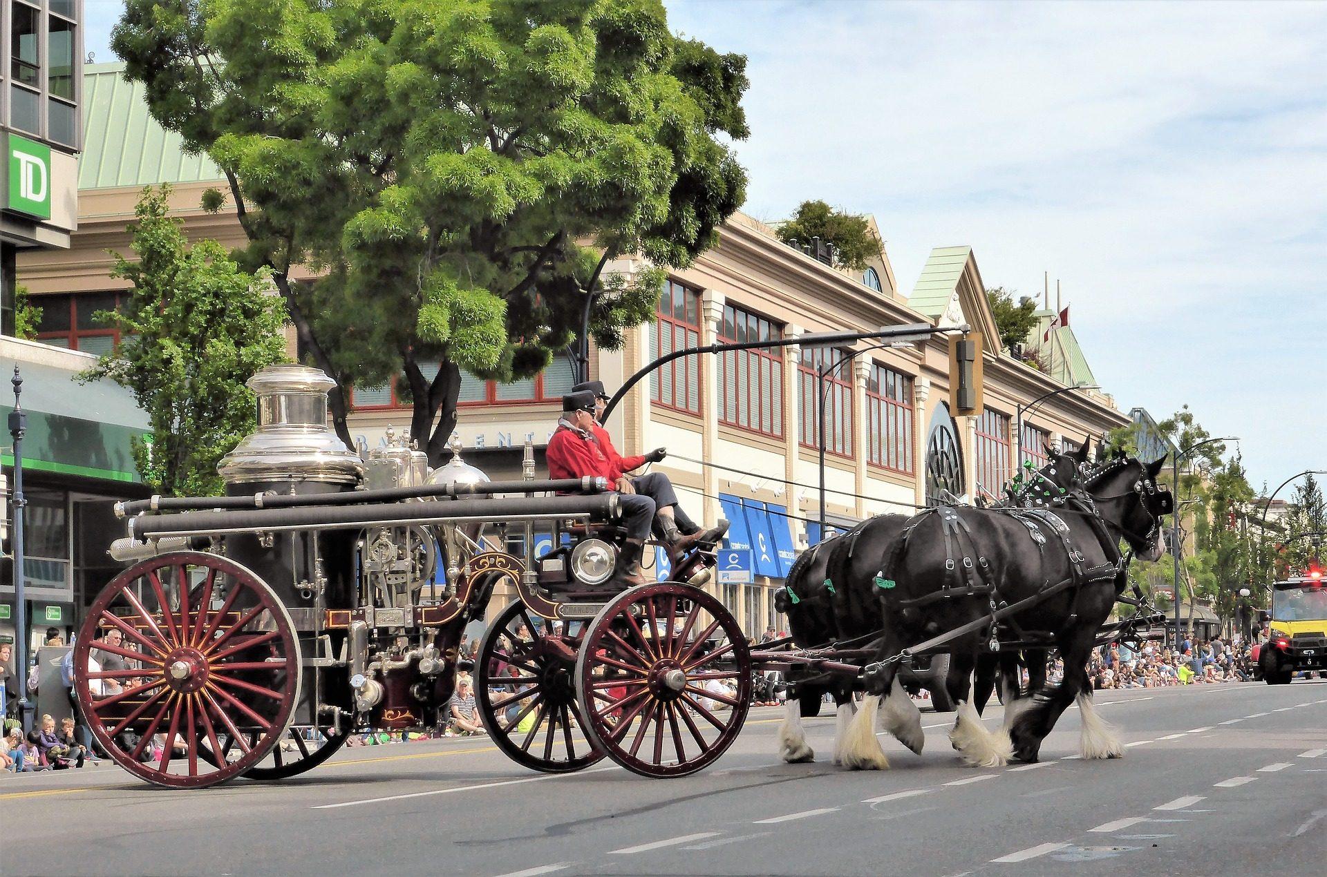 النقل, عربة, الخيول, القديمة, الحريق, خمر - خلفيات عالية الدقة - أستاذ falken.com