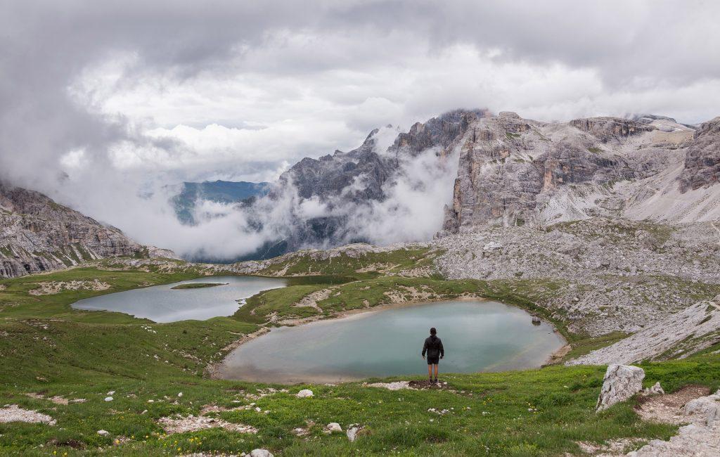 Lacs, Montañas, nuages, hauteur, homme, randonneur, 1803221427