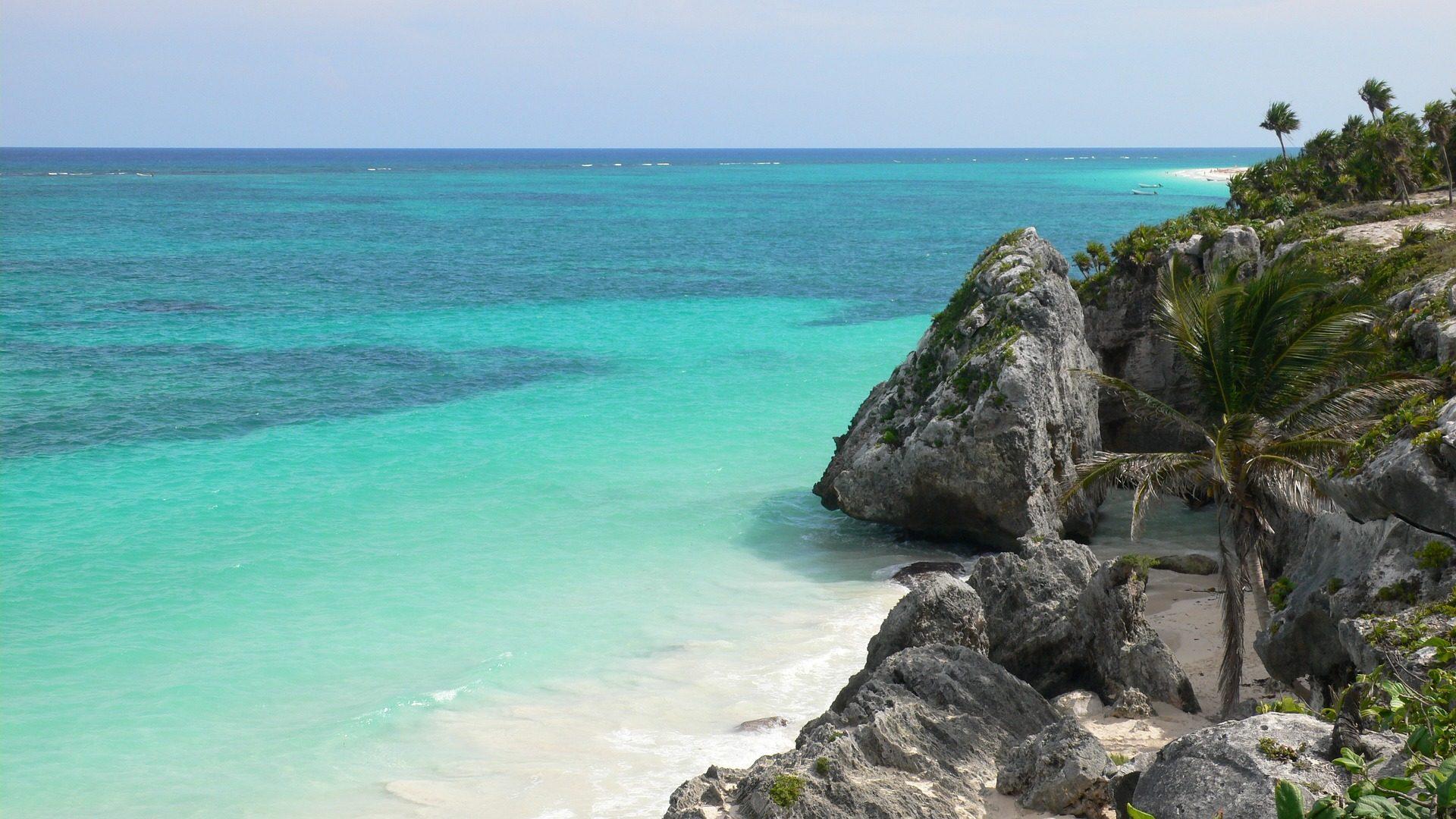 Mare, Spiaggia, Turchese, Paradise, Rocas, Palme, orizzonte - Sfondi HD - Professor-falken.com