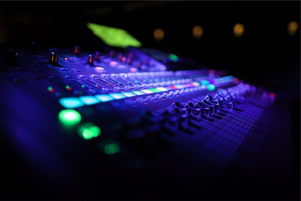 mesa, mezclas, luces, botones, indicadores, 1803311416