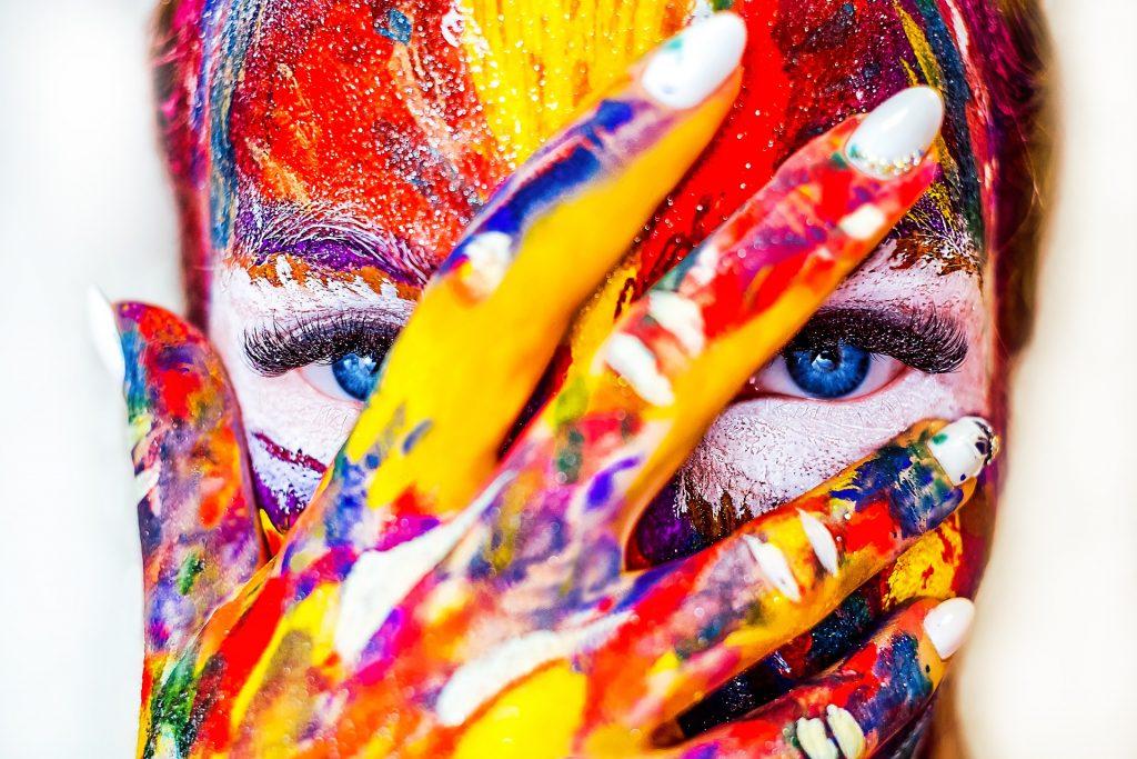 女人, 脸上, 绘画, 服装, 眼睛, 蓝色, 指甲, 1803201451