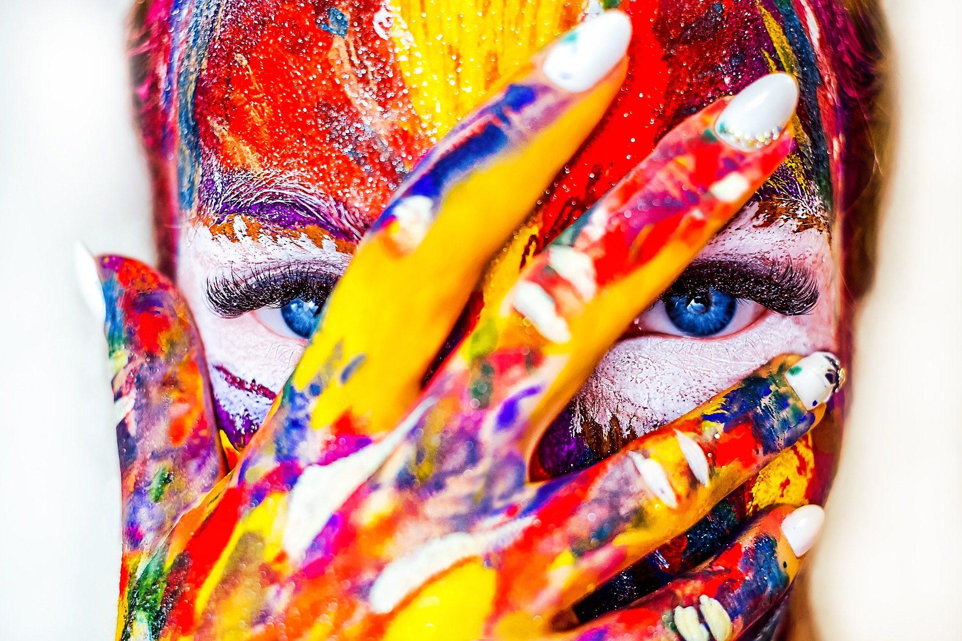 mujer, cara, pintura, disfraz, ojos, azules, uñas - Fondos de Pantalla HD - professor-falken.com