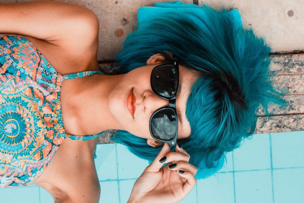 女人, 头发, 蓝色, 太阳镜, 穿衣服, 1803200829