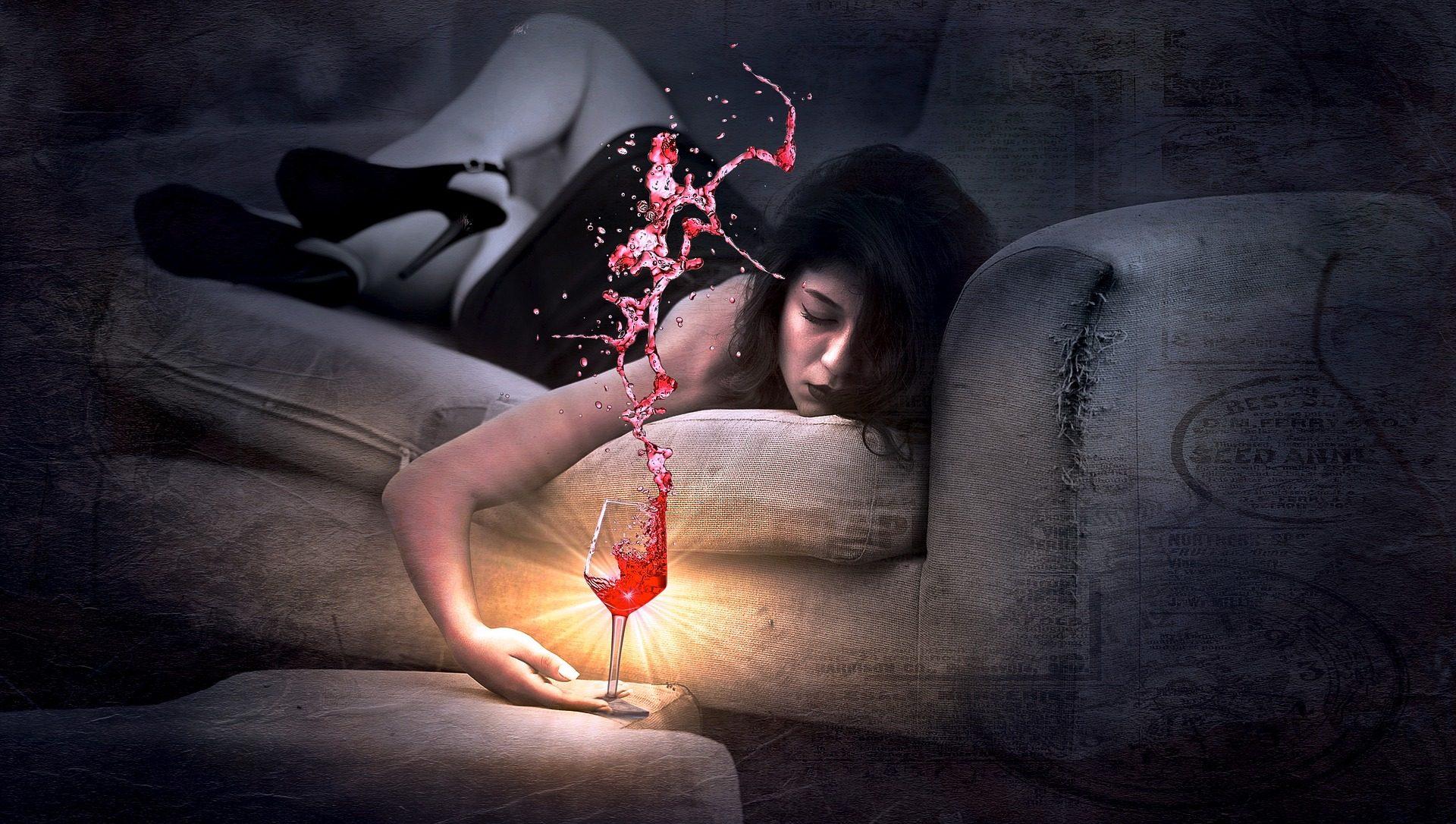 امرأة, أريكة, كأس, النبيذ, البداية - خلفيات عالية الدقة - أستاذ falken.com