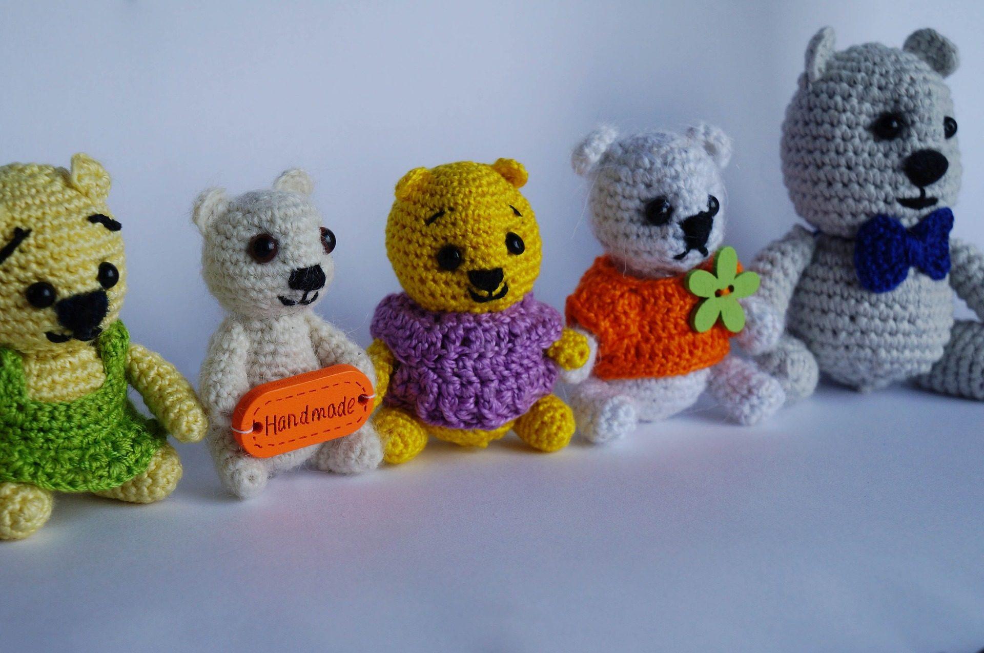 ursos, brinquedos de pelúcia, brinquedos, lã, Amigurumi - Papéis de parede HD - Professor-falken.com