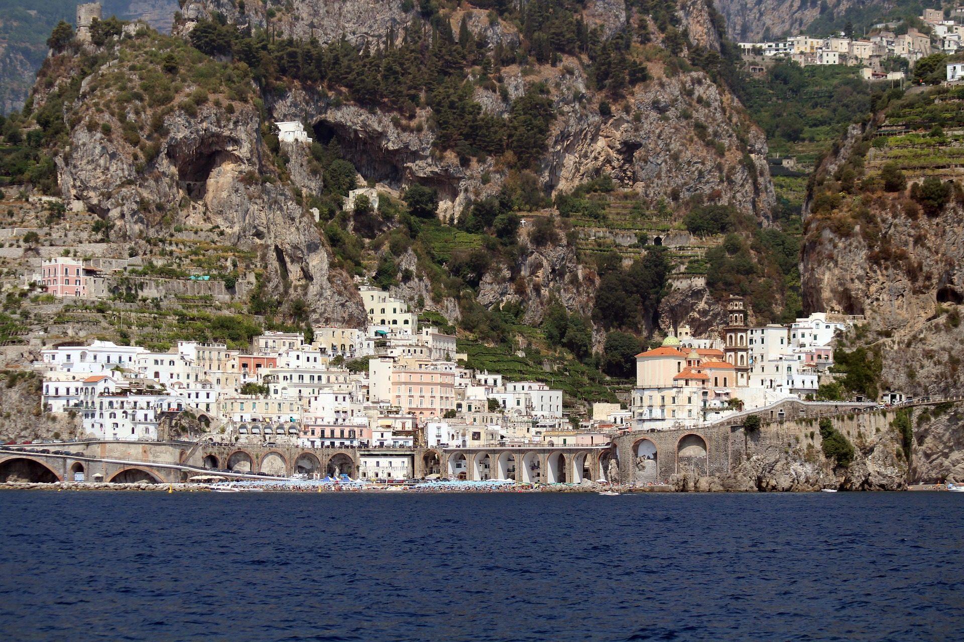 vila, Costa, Mar, montañas, Cliff, Atrani - Papéis de parede HD - Professor-falken.com
