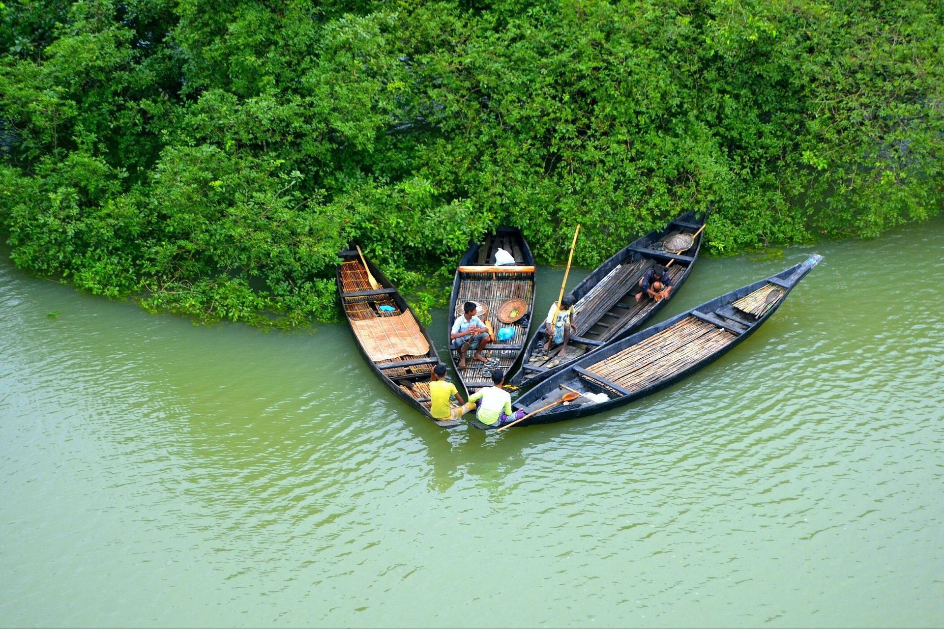 Ποταμός, κανό, ψαράδες, βλάστηση, Μπαγκλαντές - Wallpapers HD - Professor-falken.com