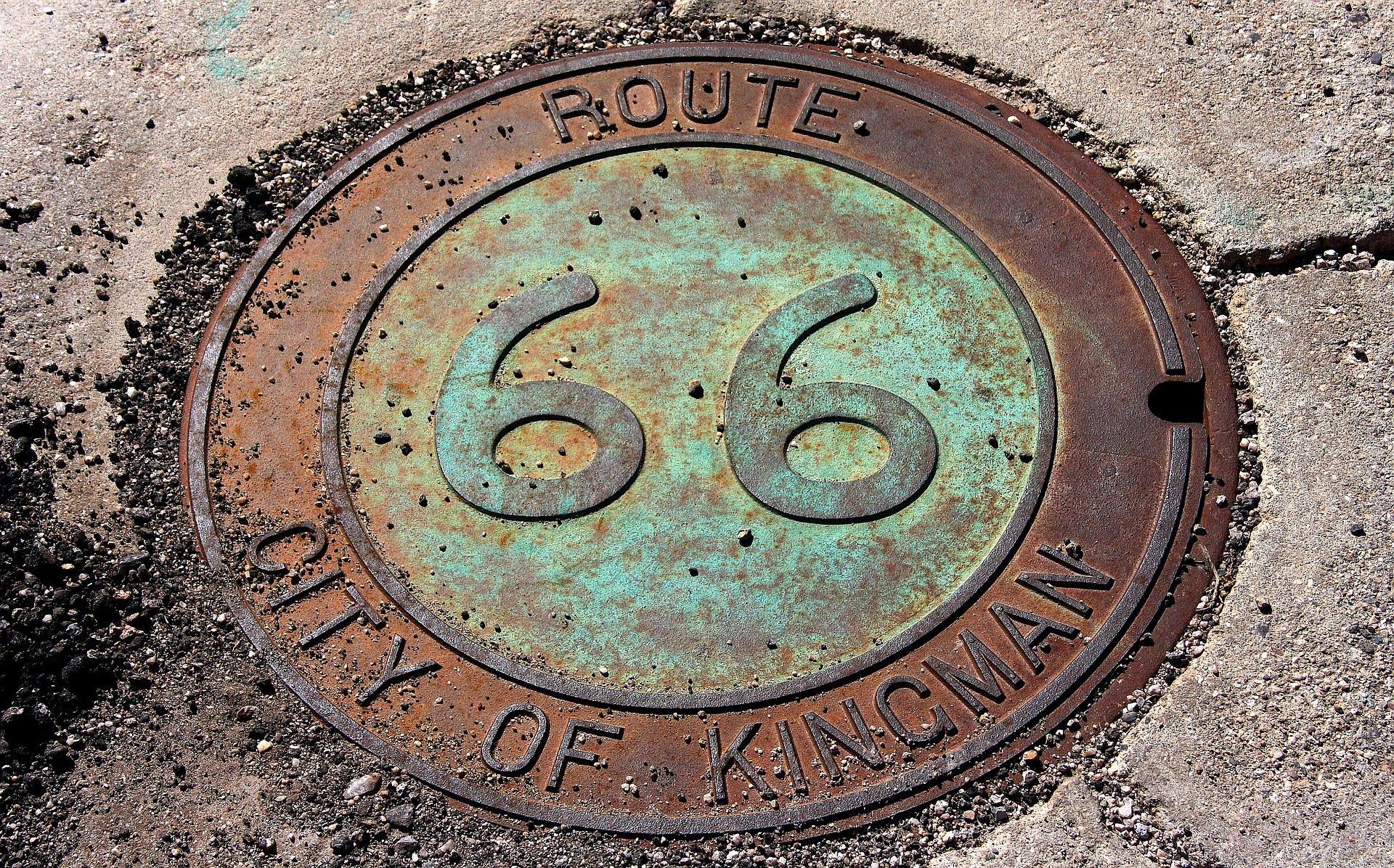 Itinerario 66, marchio, asfalto, metallo, Kingman - Sfondi HD - Professor-falken.com