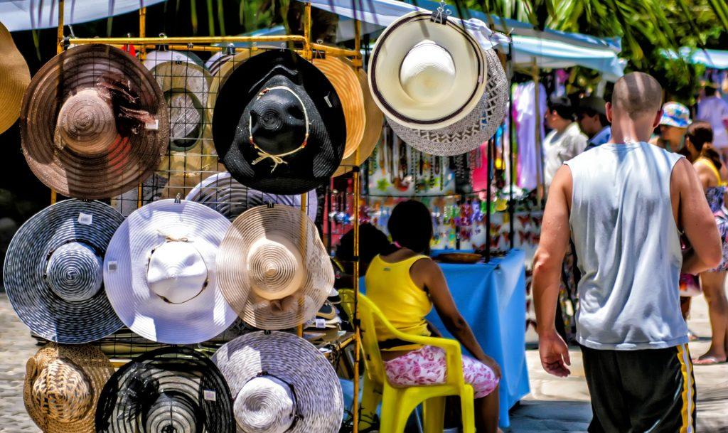 sombrero, tienda, puesto, mercado, callejero, gente, 1803091746