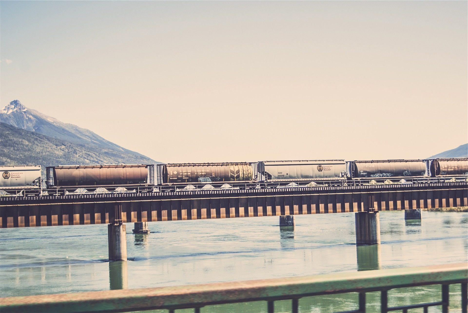 تدريب, السكك الحديدية, السلع, عربات, جسر, المياه - خلفيات عالية الدقة - أستاذ falken.com