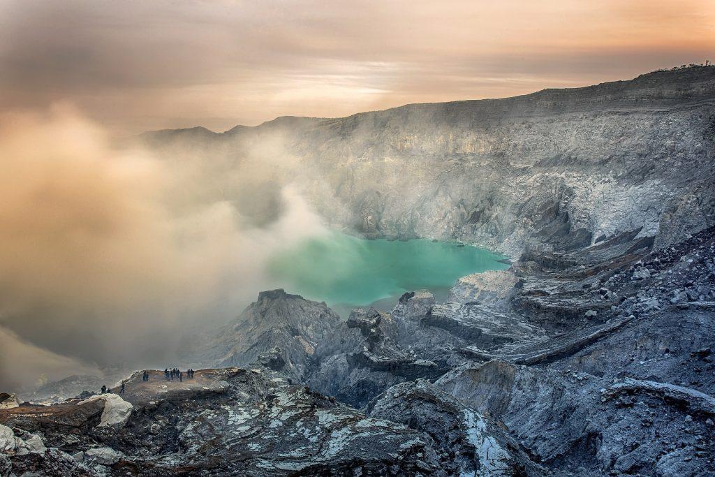 ज्वालामुखी, गड्ढा, खतरे, पानी, झील, सल्फर, इंडोनेशिया, 1803181238