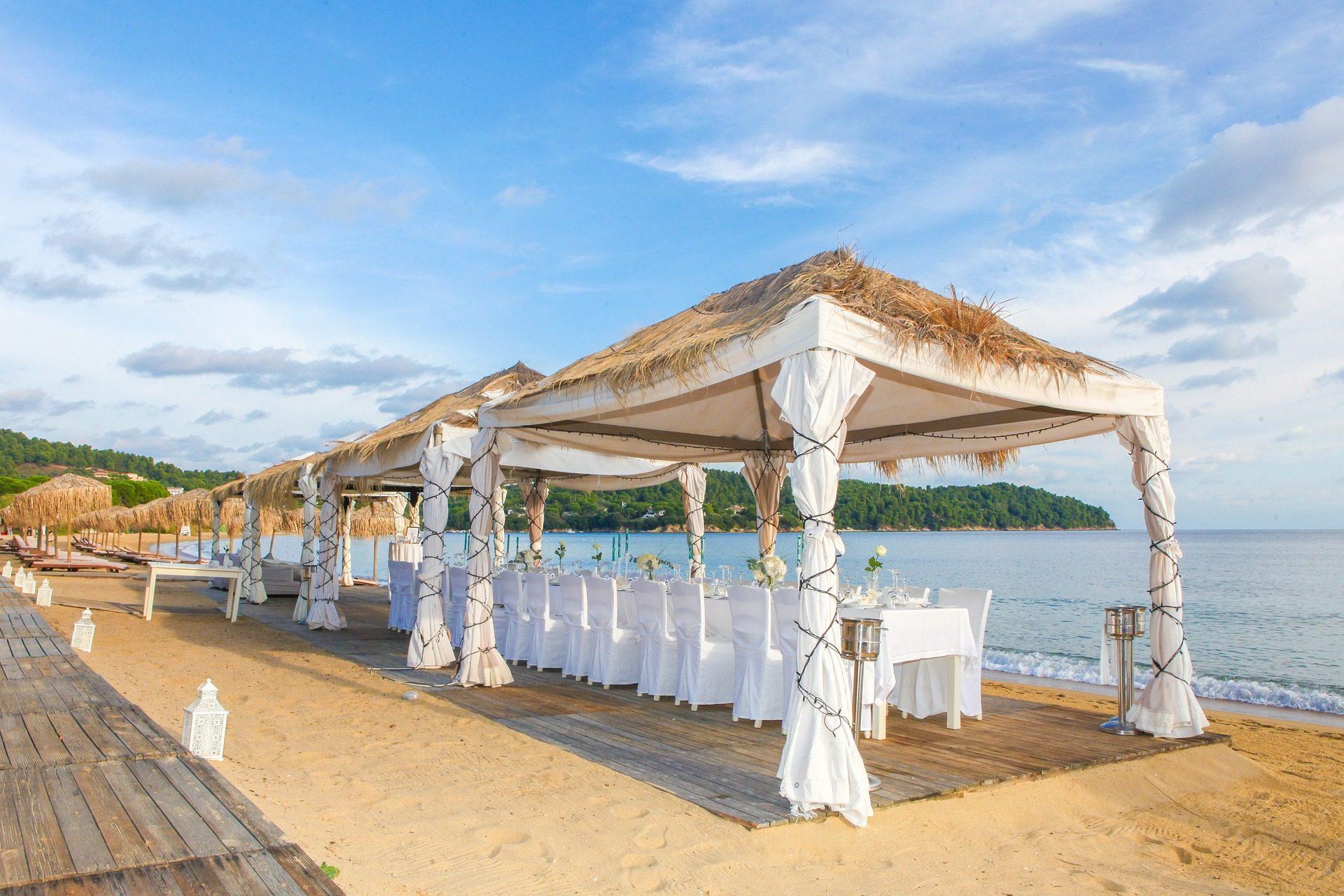 زفاف, الخيام, كراسي, الجداول, playa, الر�الشاطئ orilla - خلفيات عالية الدقة - أستاذ falken.com