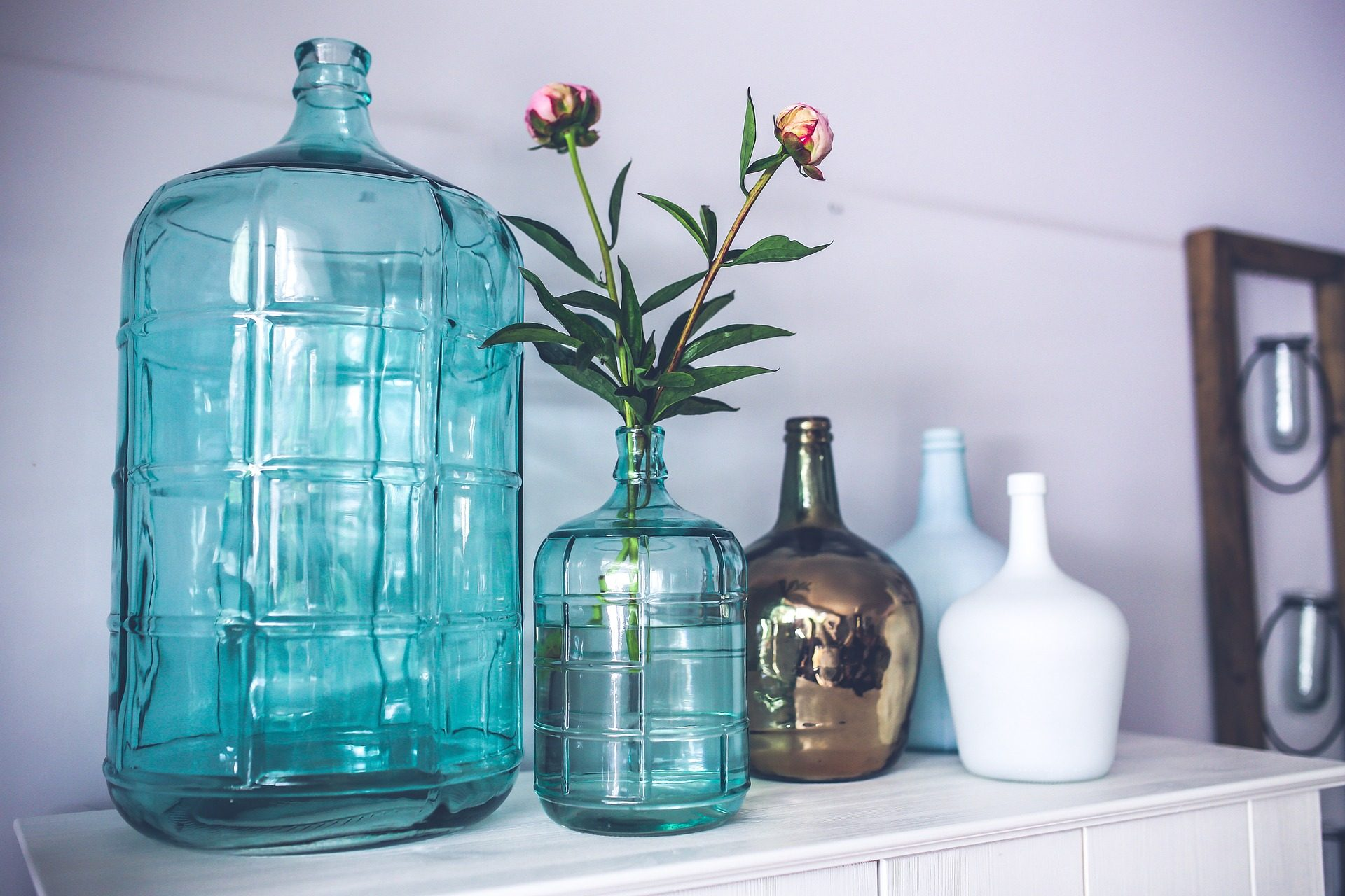 botellas, jarrones, plantas, flores, brillos, cristal - Fondos de Pantalla HD - professor-falken.com