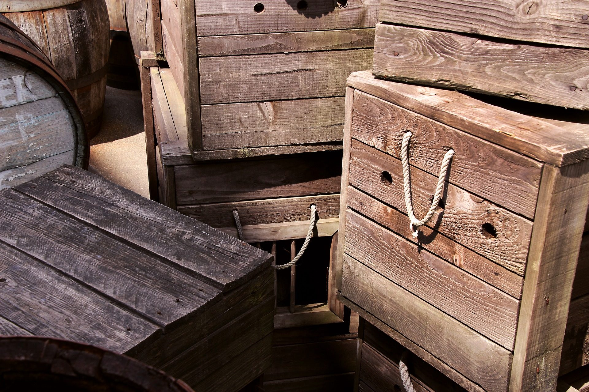 boîtes de, bois, troncs, baril, corde - Fonds d'écran HD - Professor-falken.com