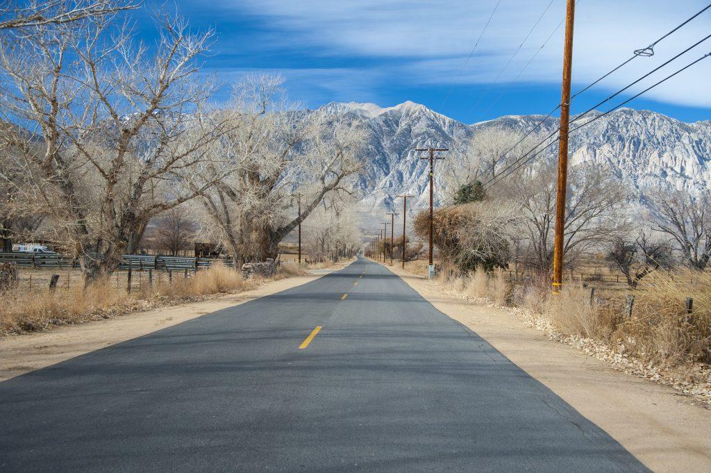 camino, carretera, montañas, árboles, cielo, postes, 1804221324