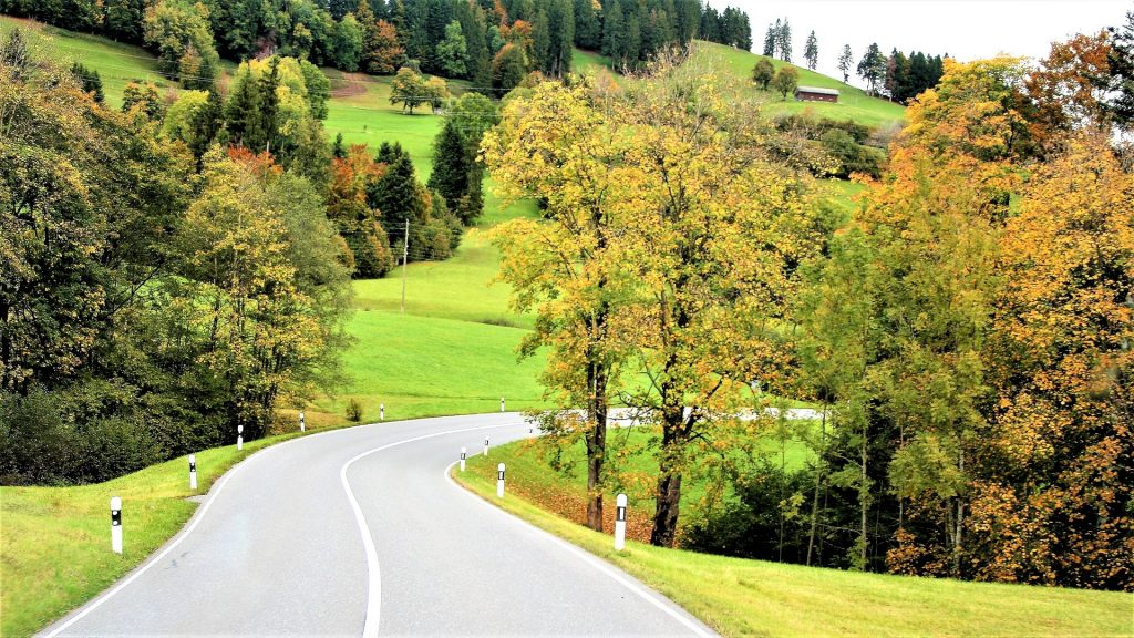 carretera, camino, curva, asfalto, árboles, campo, 1804222134