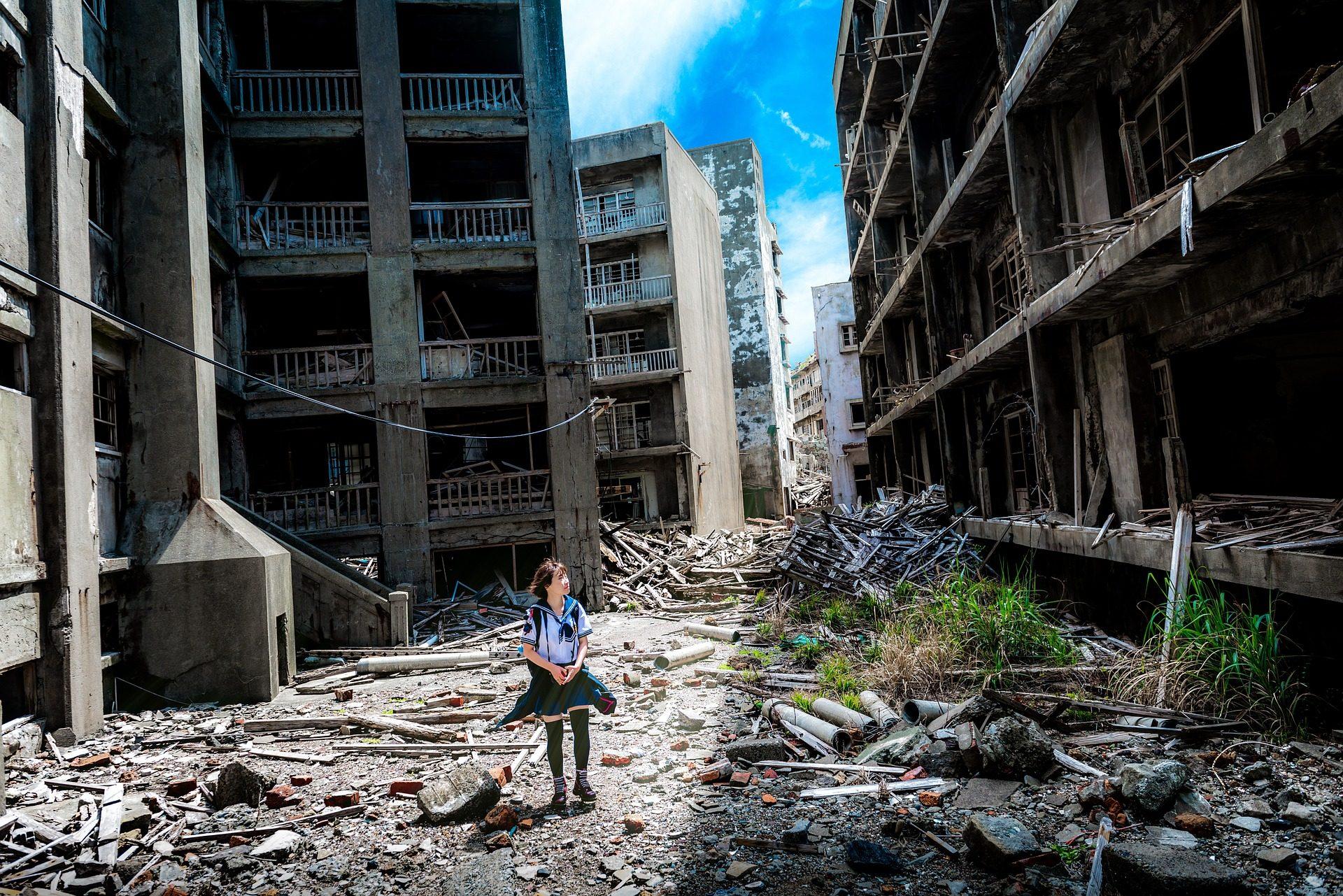 Ville, abandonné, détruit, désolation, femme, Nagasaki, Japon - Fonds d'écran HD - Professor-falken.com