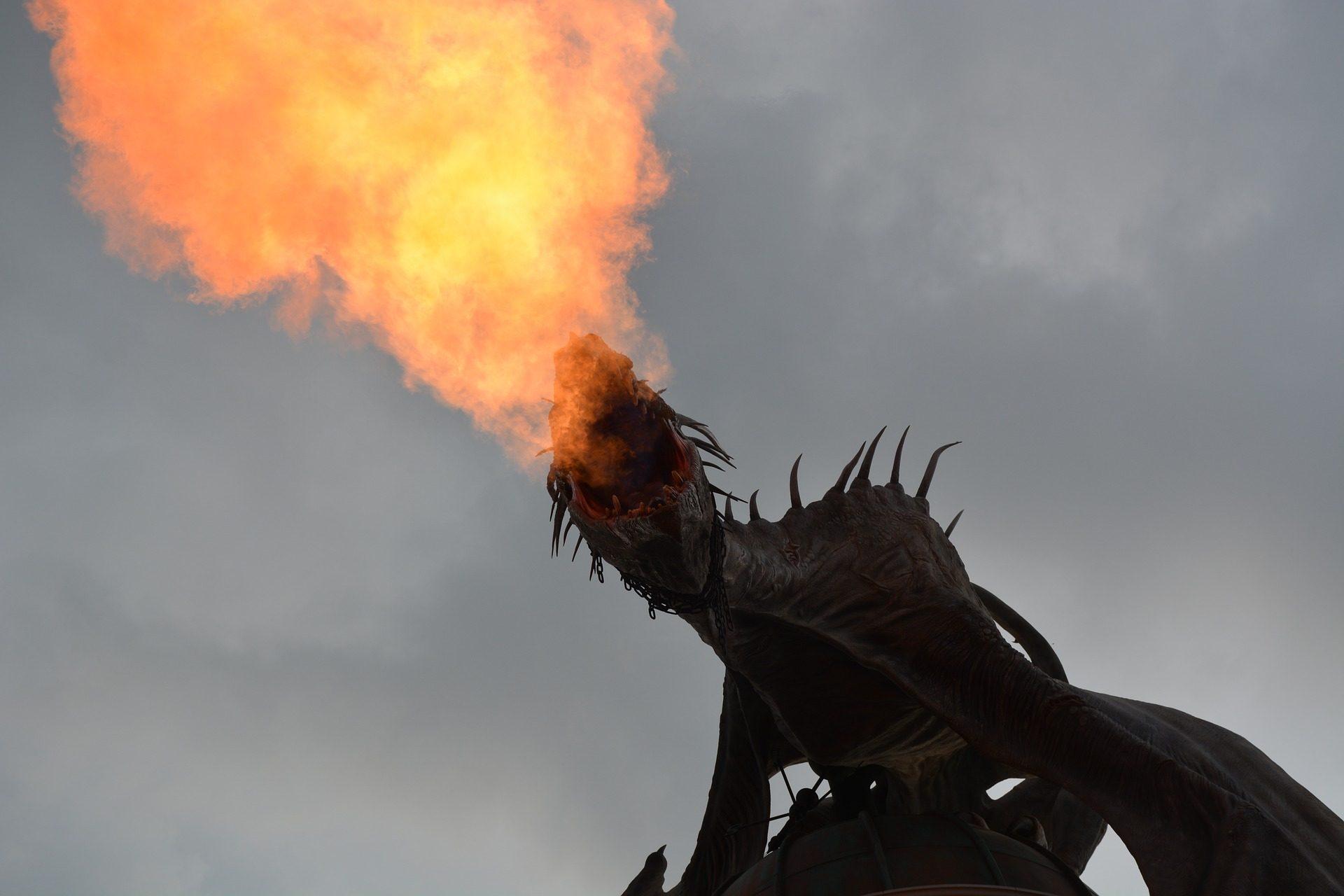 龙, 消防, 火焰, 翅膀, 天空 - 高清壁纸 - 教授-falken.com