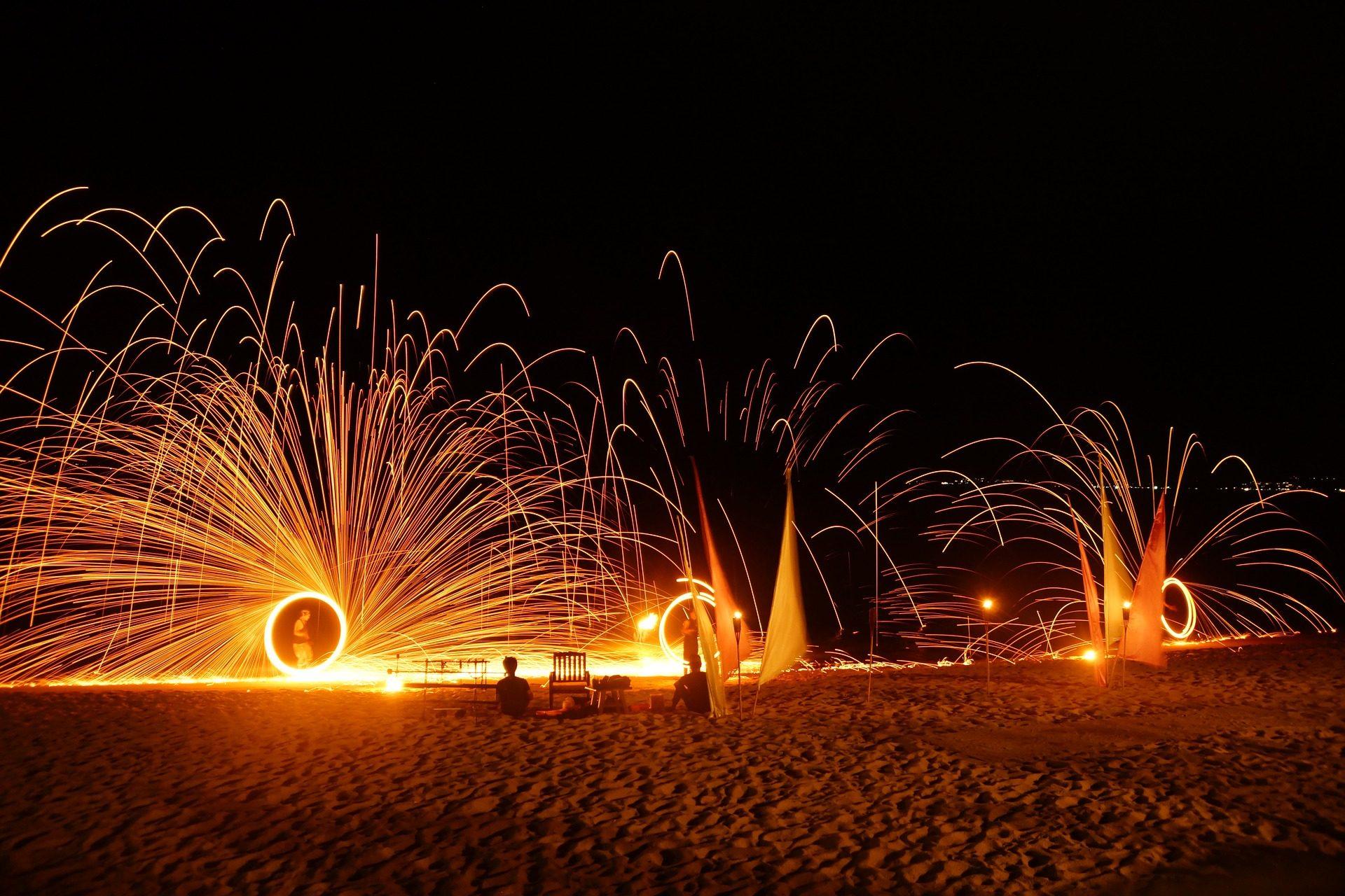 incêndios, espectáculos, Sparks, luzes, Praia, Tailândia - Papéis de parede HD - Professor-falken.com