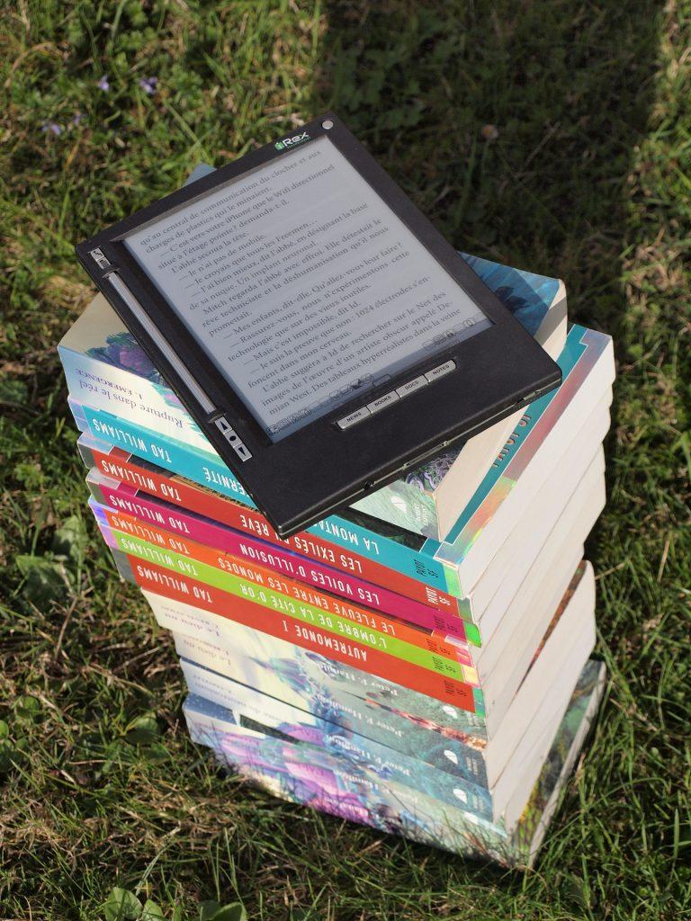 libros, montón, lector, electrónico, kindle, lectura, 1804232203