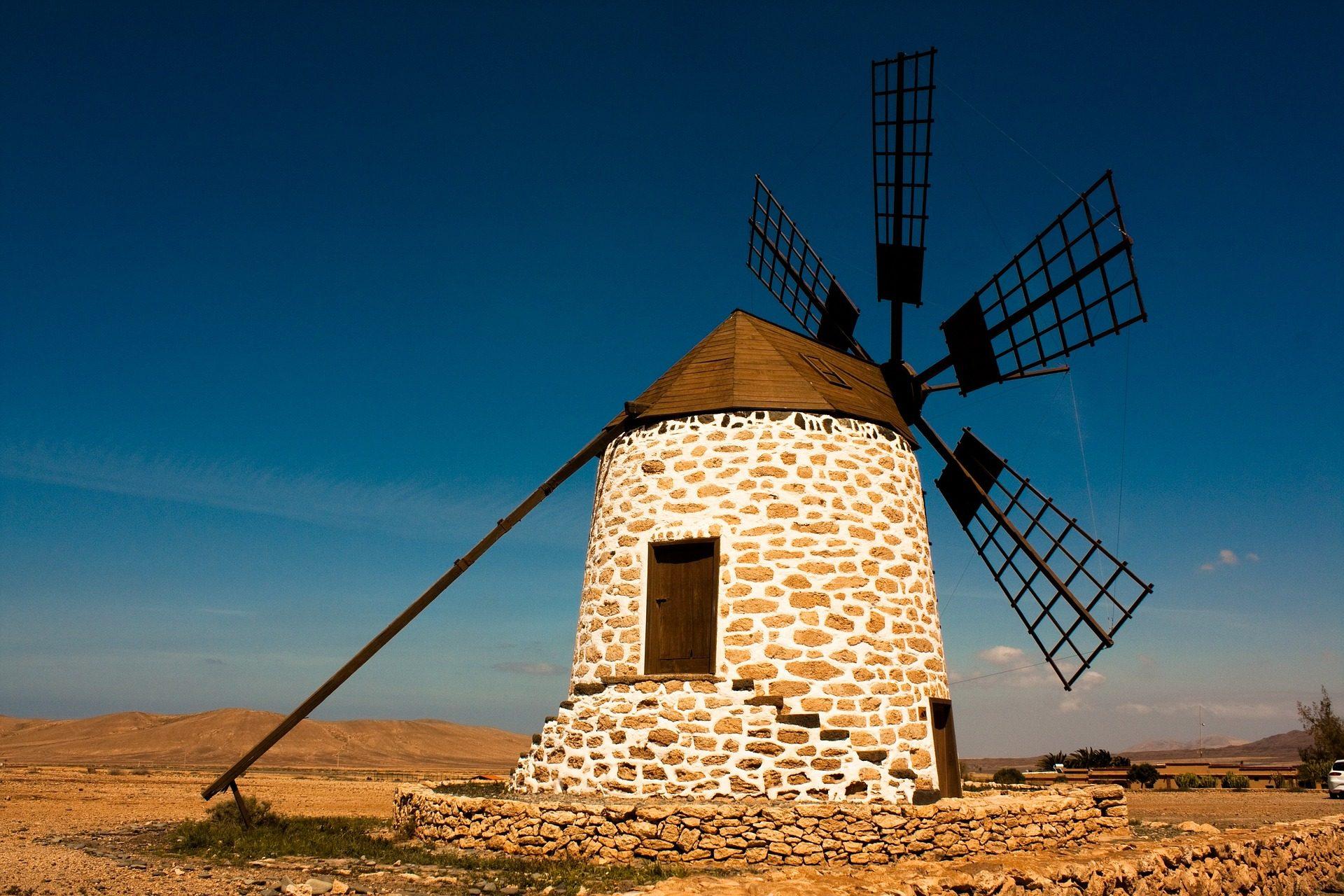 Mulino, Vento, Aspas, deserto, pianura, Fuerteventura - Sfondi HD - Professor-falken.com