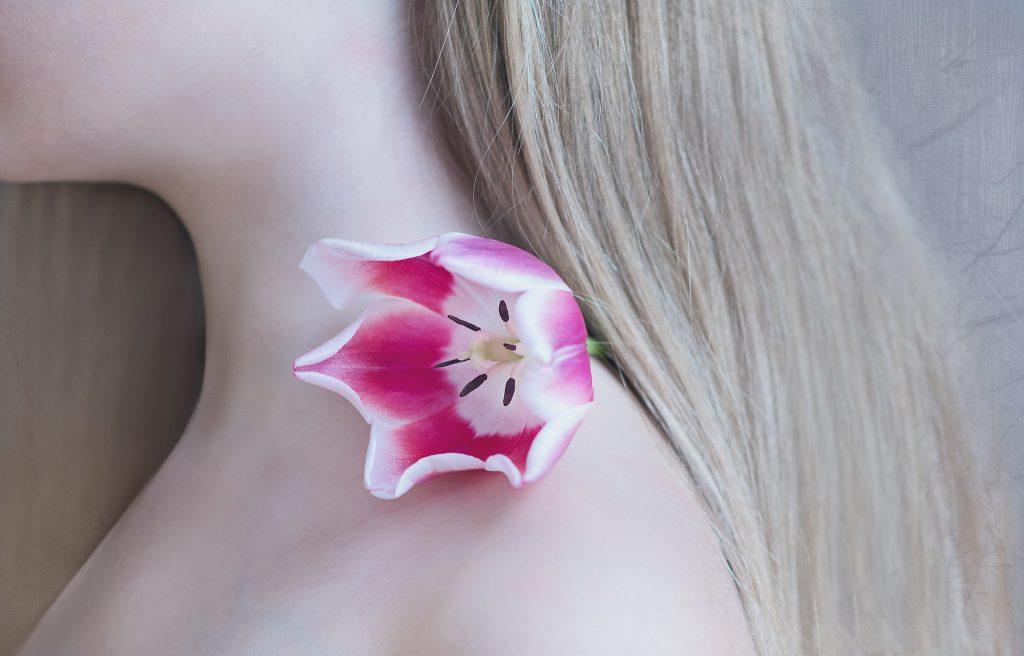 女人, 颈部, 头发, 皮肤, 花, tulipán, 1804210836