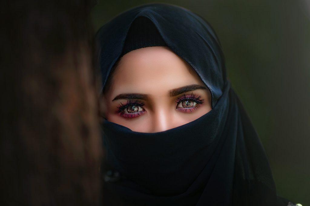 女人, 眼睛, 看看, 面纱, hijab, 1804162133