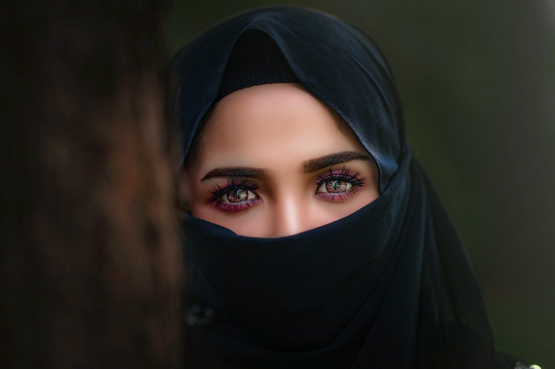 女人, 眼睛, 看看, 面纱, 头巾 - 高清壁纸 - 教授-falken.com