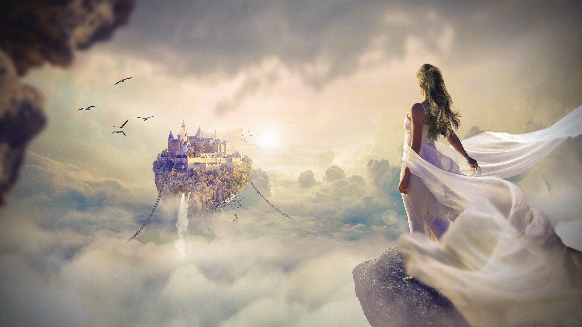 امرأة, فستان, القلعة, عائم, سلاسل, السحب. - خلفيات عالية الدقة - أستاذ falken.com