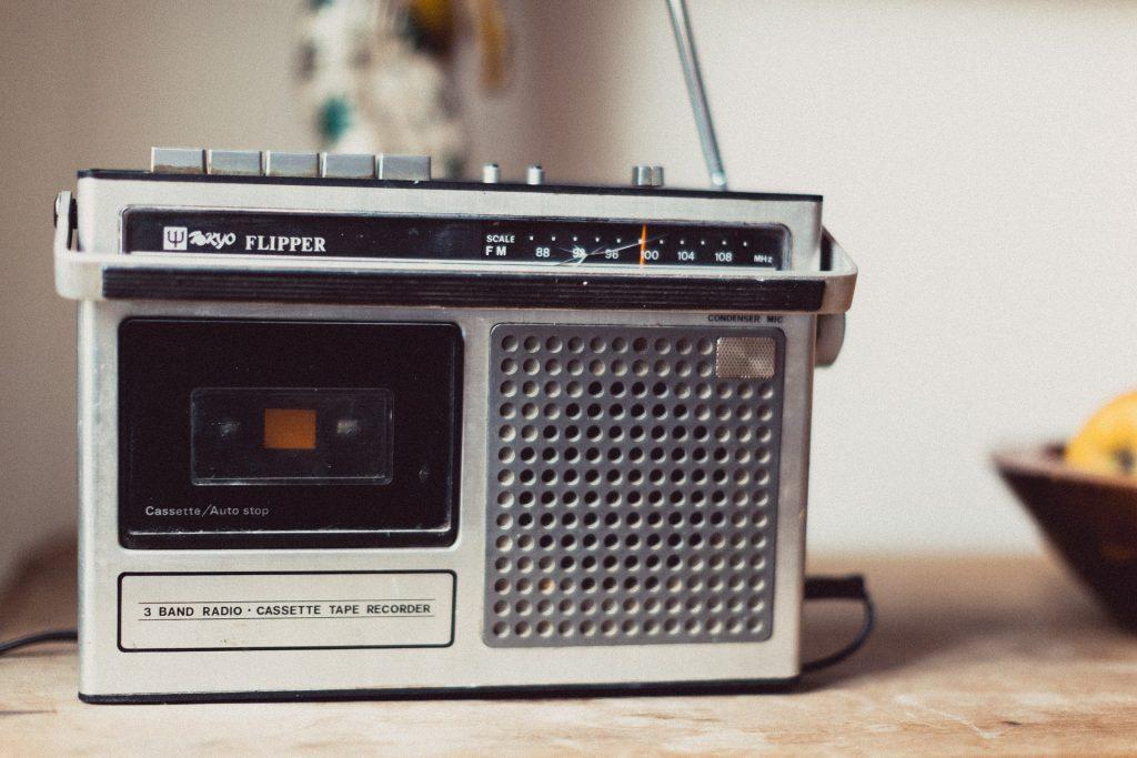 rádio, velho, vintage, antena, placa de montagem, cassete, 1804161420