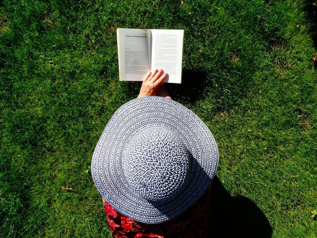 帽子, 女人, 阅读, 书, 花园, 放松, 1804201732