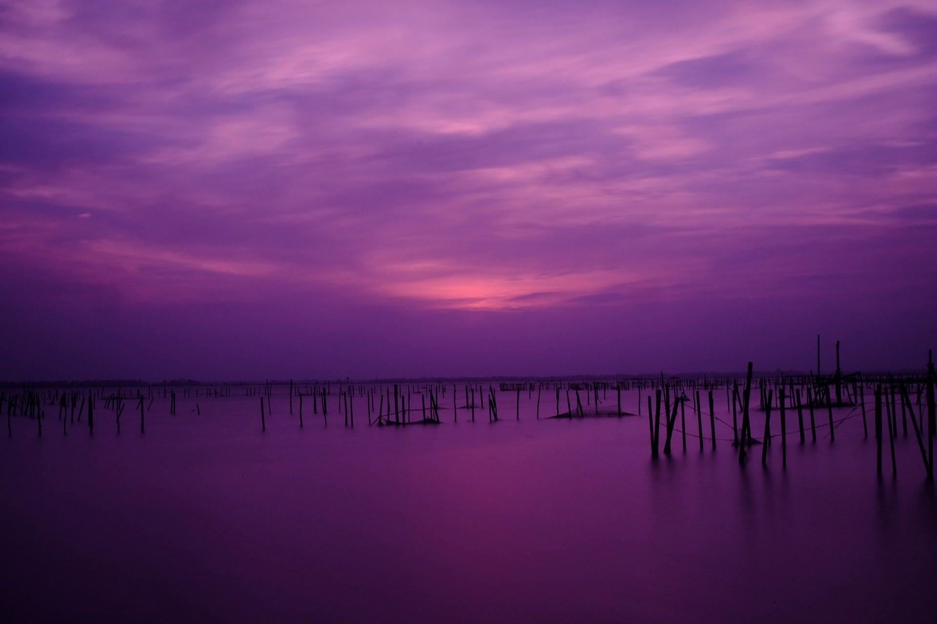 Закат, Небо, Фиолетовый, Лагуна, TAM giang, Вьетнам - Обои HD - Профессор falken.com