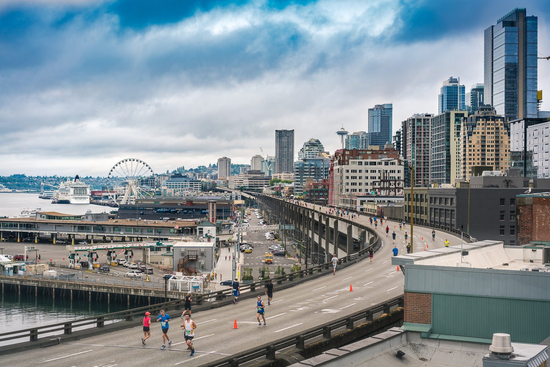 Città, carriera, Maratona, Broker, edifici, Seattle - Sfondi HD - Professor-falken.com