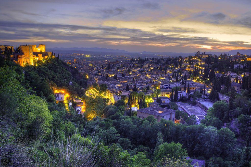 Stadt, Häuser, Lichter, Dämmerung, Alhambra, Granada, 1805240852