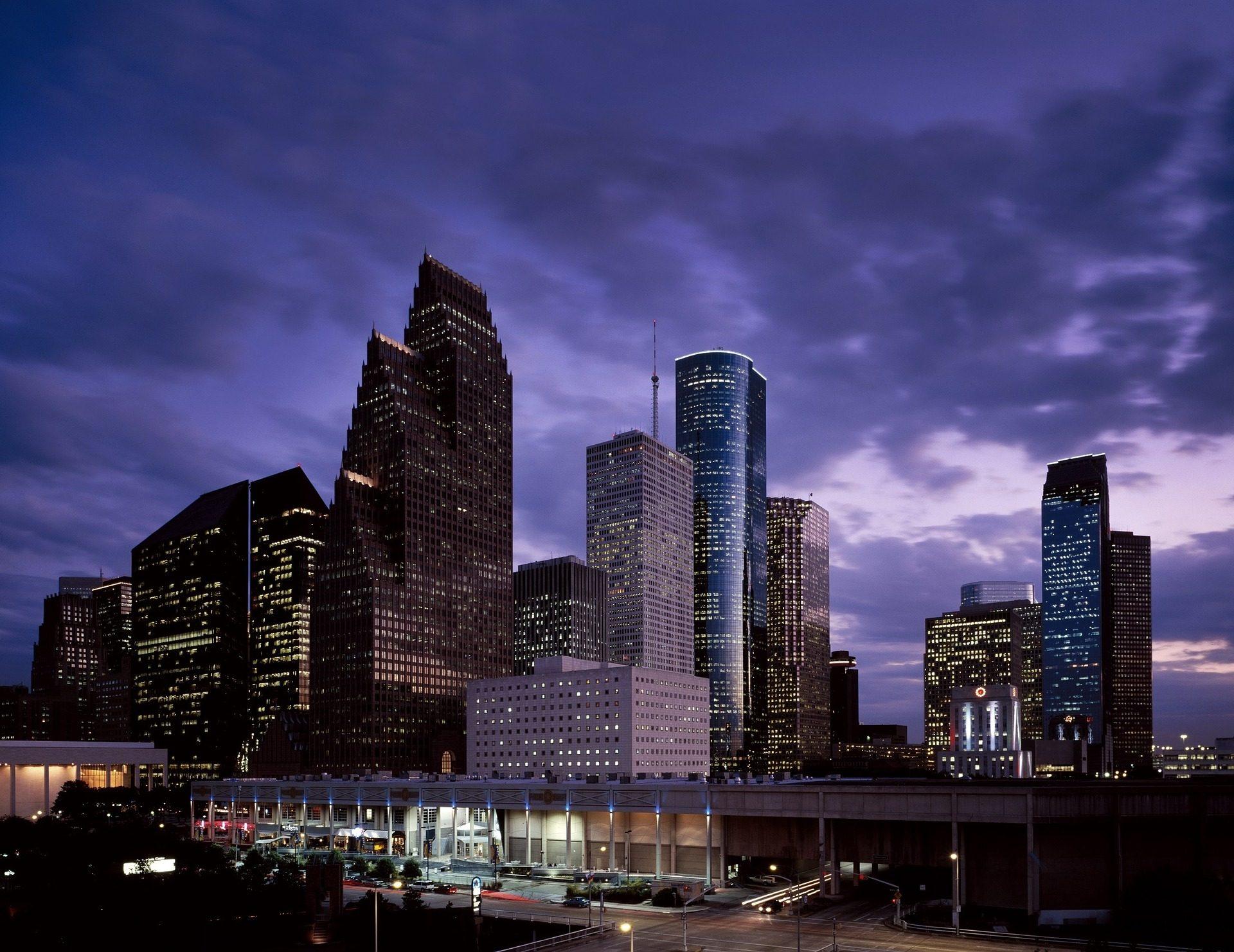 مدينة, المباني, ناطحة سحاب, أفق, ليلة, أضواء - خلفيات عالية الدقة - أستاذ falken.com