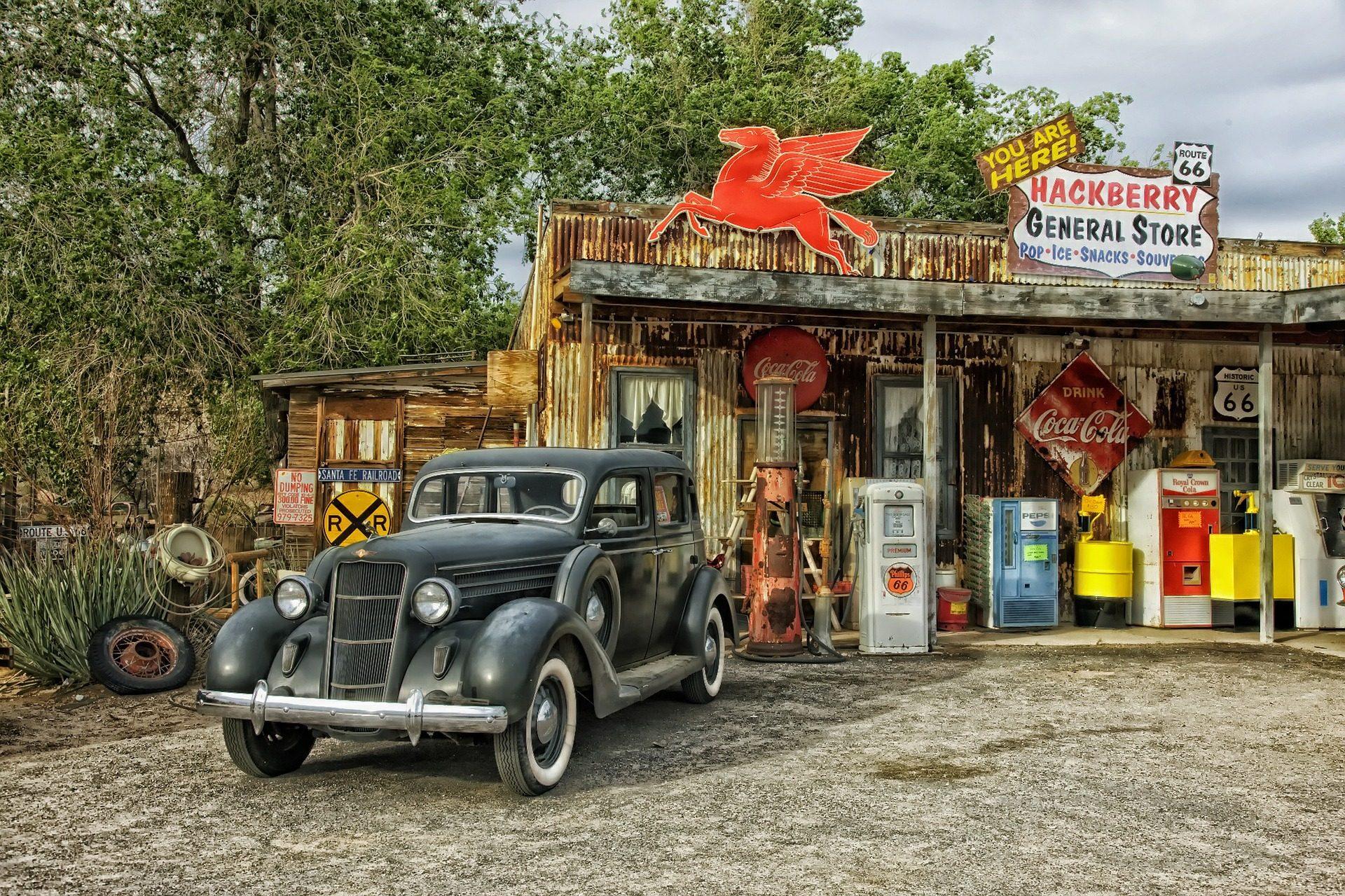 Auto, alt, Jahrgang, Tankstelle, Arizona, Strecke 66 - Wallpaper HD - Prof.-falken.com