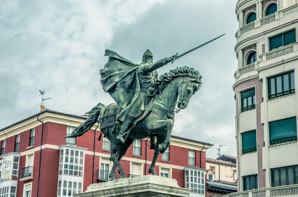 Статуя, скульптура, лошадь, СИД, меч, Бургос, 1805231108