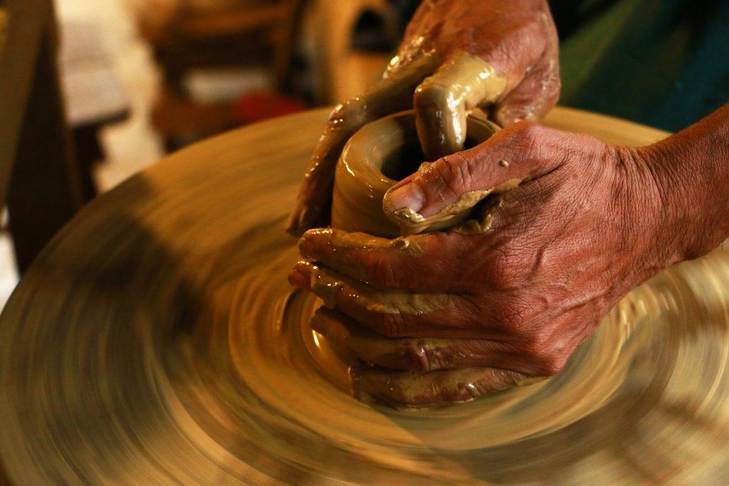 manos, barro, alfarería, artesanía, torno, 1805111227