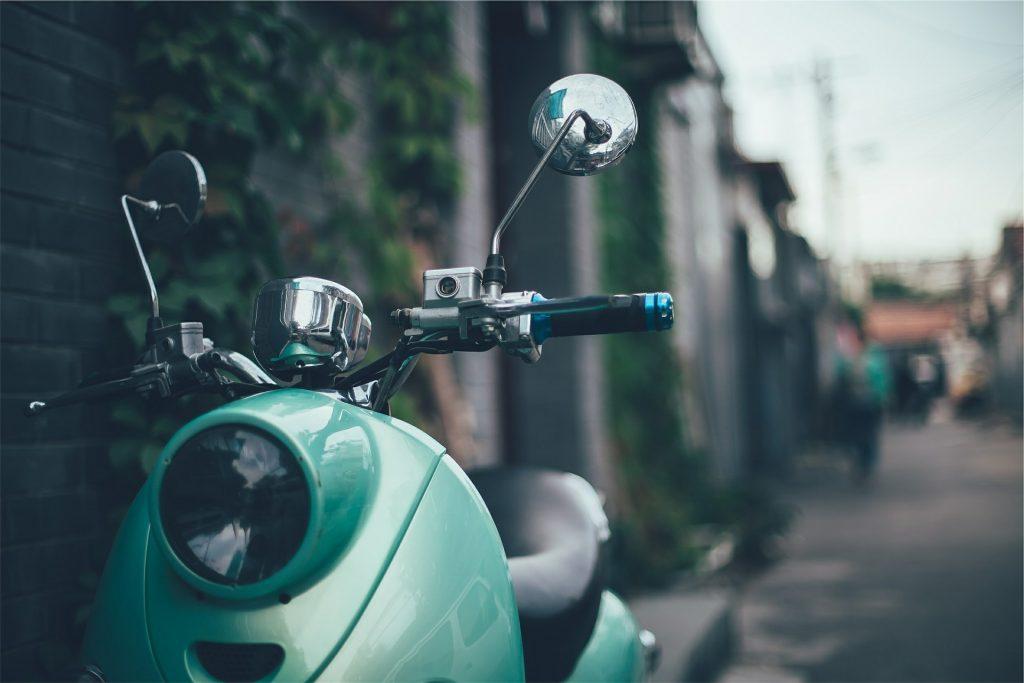 motocicleta, scooter, vintage, retrovisores, aparcada, 1805220824
