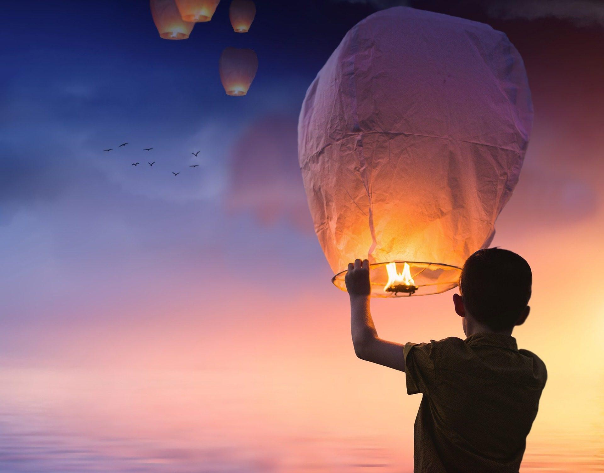 儿童, 蜡烛, 气球, 灯, 飞, 希望 - 高清壁纸 - 教授-falken.com